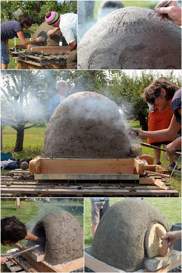 Con barro, arena, paja de residuos agrícolas, serrín grueso, botellas de vidrio recicladas, y algunos ladrillos especiales para fuego. La construcción de un horno de leña es más fácil de lo que piensas!