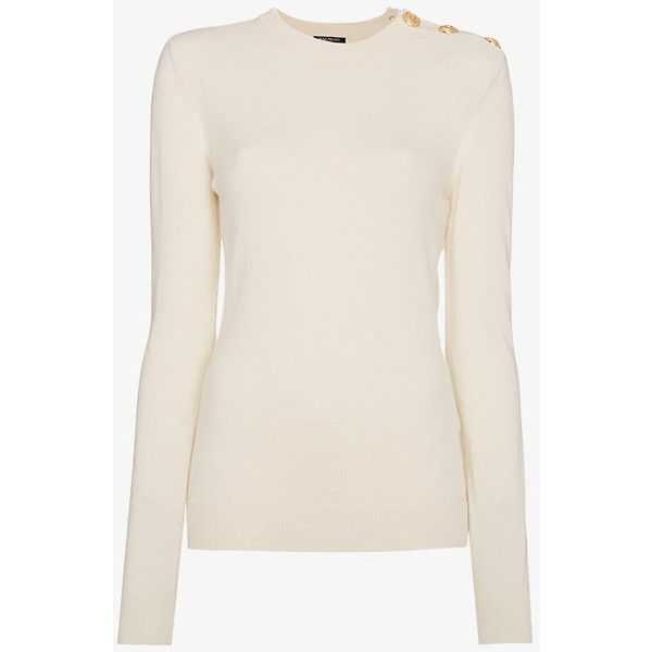 Balmain Cashmere Jumper With Gold Button Detail ($1,205) ❤ liked on Polyvore featuring tops, sweaters, white, balmain sweater, white jumper, cashmere sweater, wool cashmere sweater and balmain