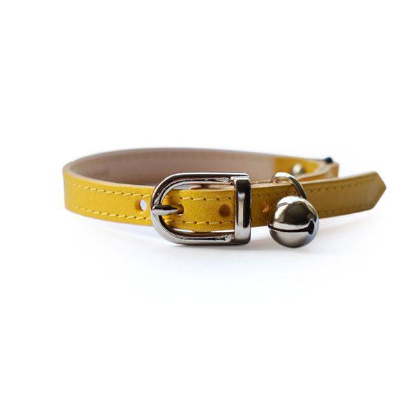StyleTails - Leather Cat Collar | Yellow Cat Collar | Designer Dog Collar