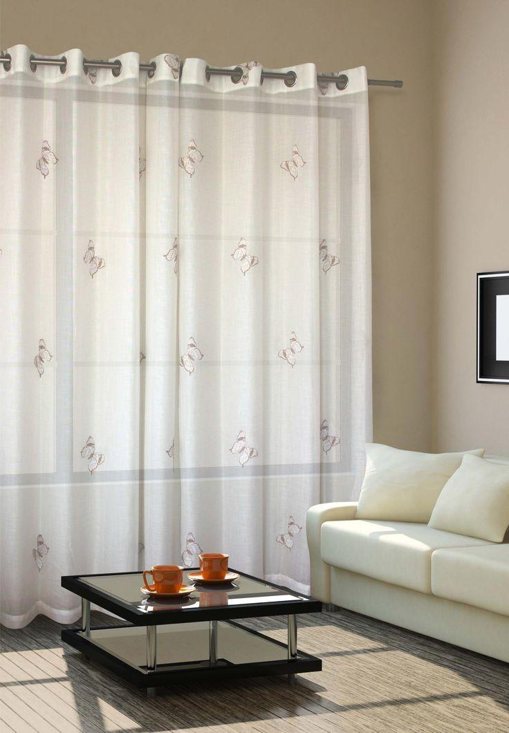 cortina de tela blanca con diseos en bara con ojales tela cortina