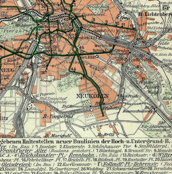 Streets of Berlin Paris Map Colorful Antique1909 by Beats925Books, $14.00
