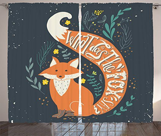 """Amazon.com: Ambesonne Vintage Decor Collection, """"What Does the Fox Say?"""" Quote Hipster Animals Know Better Habitat Creature Cute Illustration, Living Room Bedroom Curtain 2 Panels Set, 108X84 Inches, Multi: Home & Kitchen"""