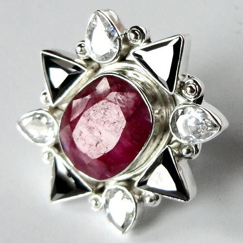 Solid 925 Stamp Silver Ring US Size-7.35 Ruby CZ Gemstone Jewellery-9176
