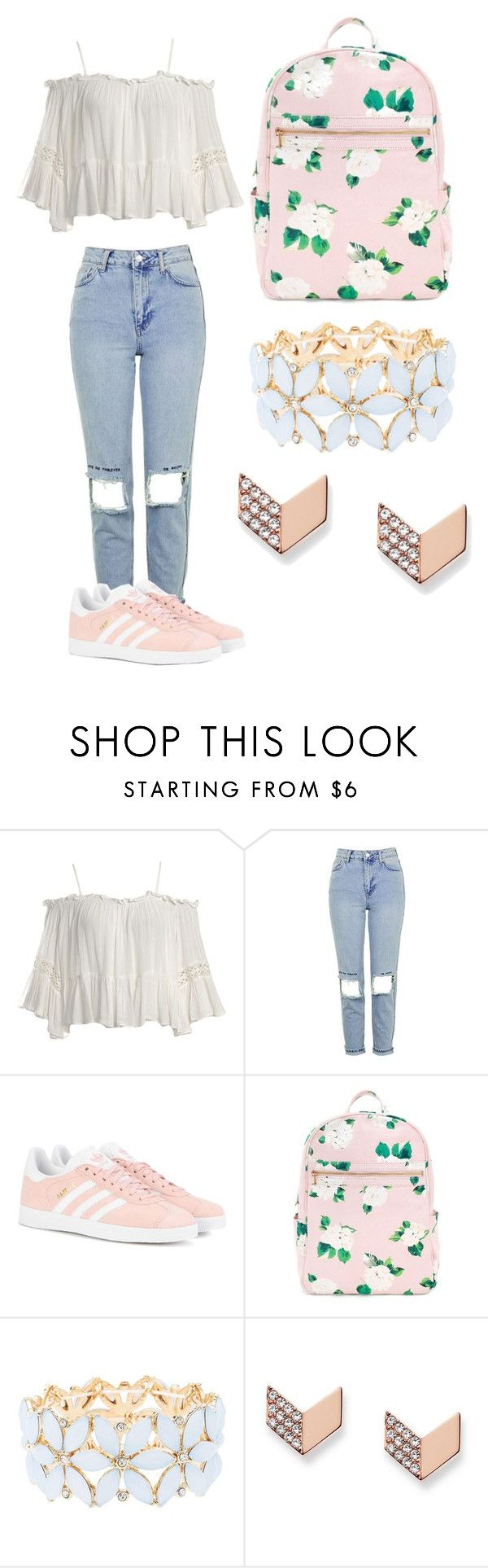"""""""Untitled #96"""" by cocoabeautyandfashion ❤ liked on Polyvore featuring Sans Souci, Topshop, adidas Originals, Charlotte Russe and FOSSIL"""