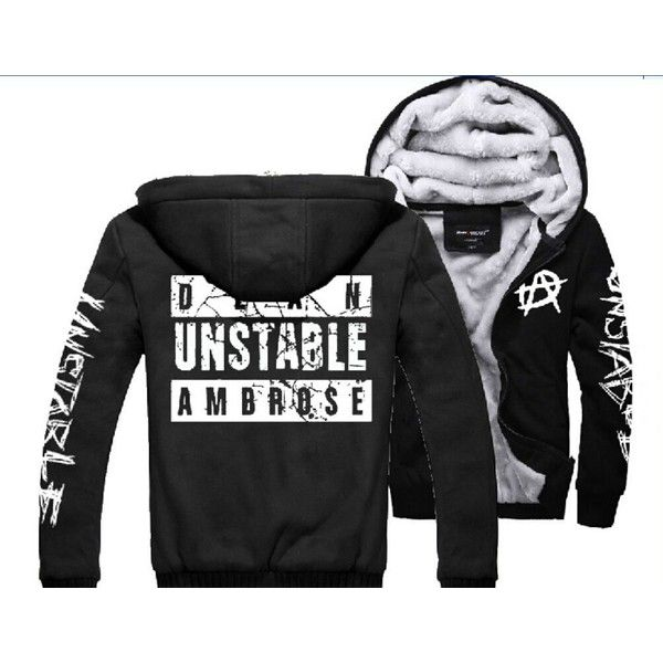 2014 NXT Dean Ambrose Mens Jacket Sweater Hoodies Thickening Plus... ($62) ❤ liked on Polyvore featuring mens, men's clothing, wwe and dean ambrose