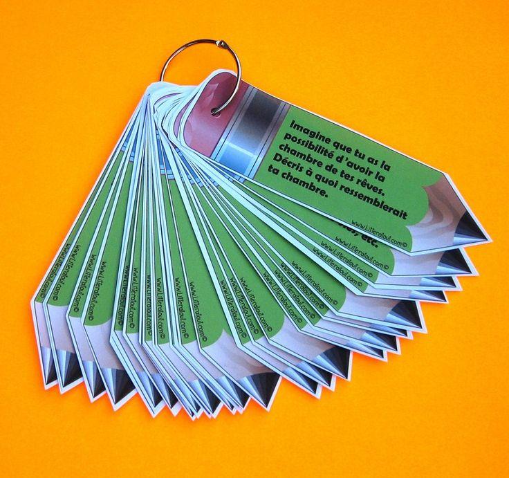 Porte-clés de sujets d'écriture pour textes descriptifs (8-12 ans) Le porte-clés permet aux élèves de choisir un sujet d'écriture parmi un éventail de thèmes intéressants. Une fois le sujet choisi, les élèves élaborent leurs textes descriptifs dans leur cahier d'écriture ou tout autre support désigné par l'enseignante.