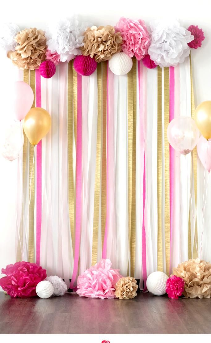 Pink And Gold Tissue Paper Pom Pom Backdrop In 2020 Pink And Gold Birthday Party Diy Birthday Decorations Gold Birthday Party