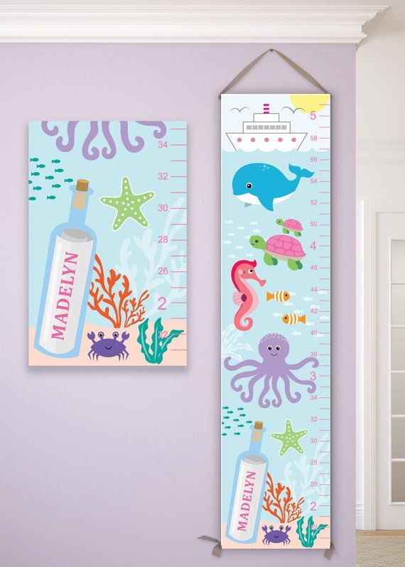 Customisable Boys Girls Cute Sea Creatures Measure Height Growth Chart Whales