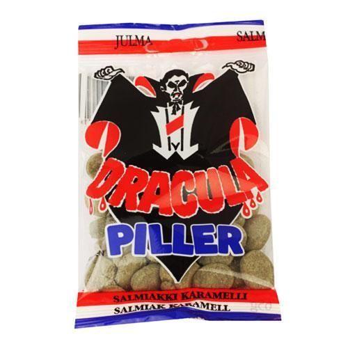 3 Bags x 65g of Dracula Piller Swedish Salmiak Licorice Caramel Pastilles Sweets #Ahlgrens