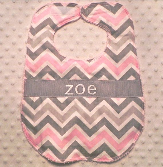 Hey, I found this really awesome Etsy listing at http://www.etsy.com/listing/104082662/personalized-bib-baby-girl-pink-and-gray