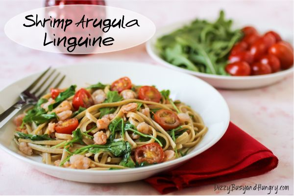 Shrimp Arugula Linguine - Shrimp and arugula team up to make this pasta dish pack a powerful nutritional punch, as well as satisfy your hungry family!