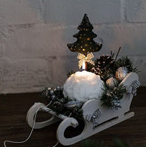 Christmas sleigh with textile christmas tree with от NoelMagique