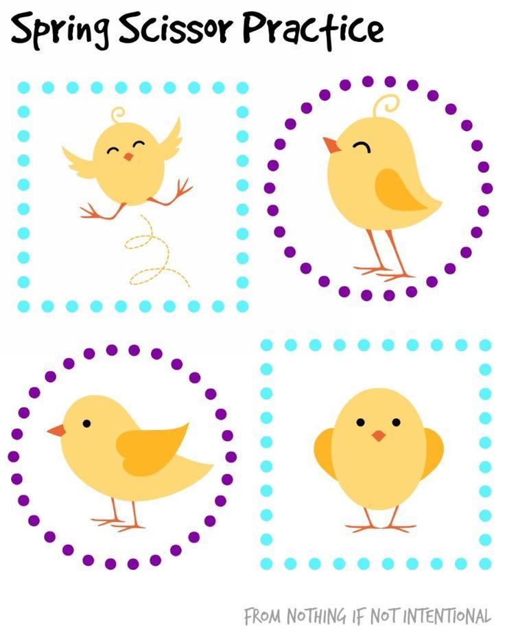 Free Printables--Spring-Themed Scissor Practice for Preschool