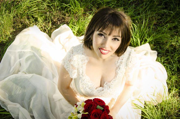 Bride in the grass.