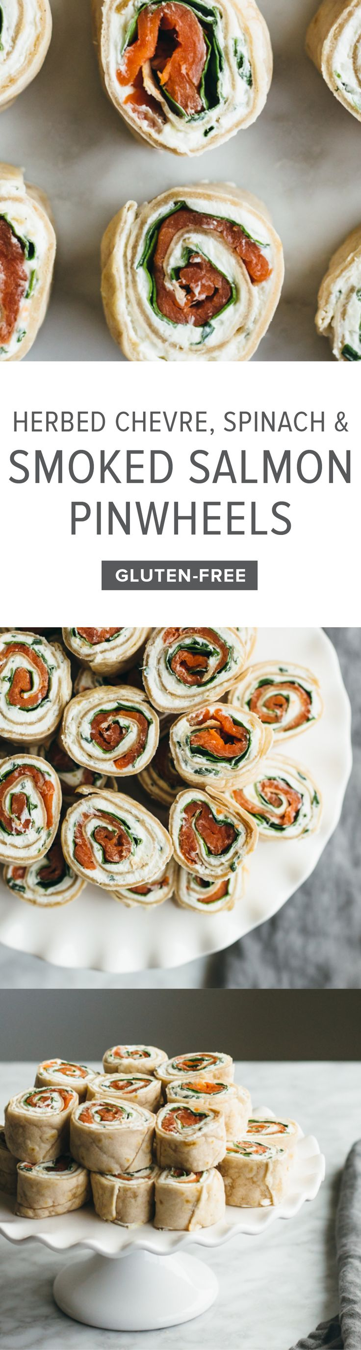 (gluten-free, paleo) Herbed Chevre, Spinach and Smoked Salmon Pinwheels. A tasty appetizer or snack made with cassava flour tortillas.