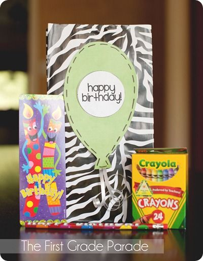 Birthday Bags!  A special treat for kiddos on their BDAY!