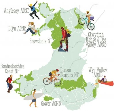 The 8 Protected Landscapes of Wales. Illustration: Copyright Greentraveller