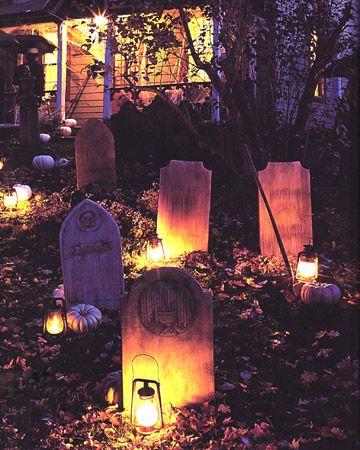 Halloween graveyard idea - love the lanterns