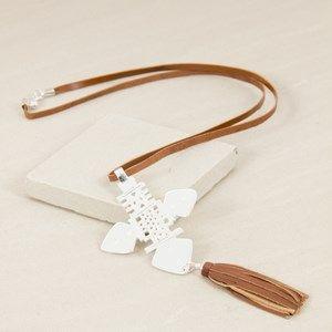 Celtic Medallion & Leather Tassel Long Necklace