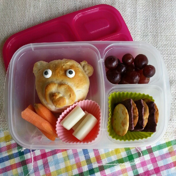 Stuffed biscuit animal #bento lunch, packed in #EasyLunchboxes Brights!