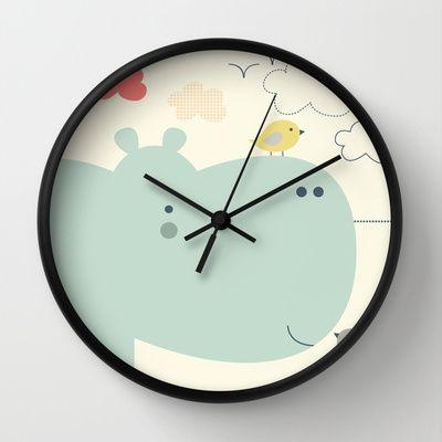 Hippy Hippo Wall Clock by Shiny Orange Dreams - $30.00