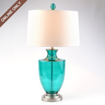 Teal Glass Table Lamp.  Great price!