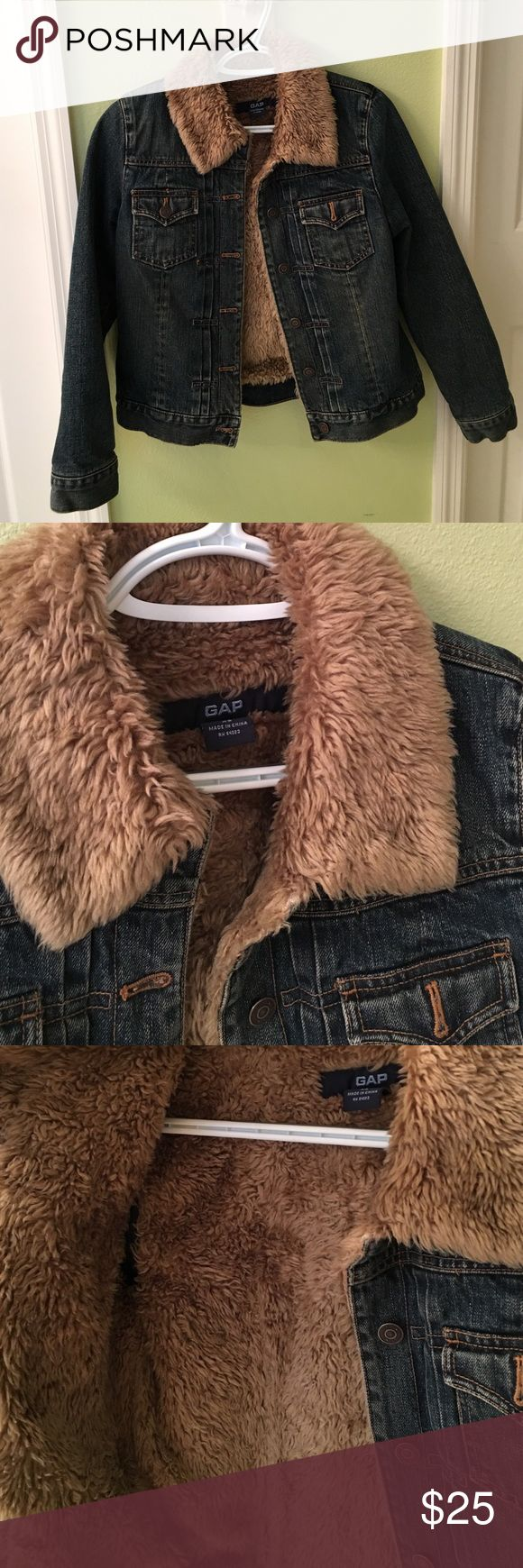 Gap Jean jacket lined with fur Super comfortable and warm Gap jacket. Only worn about twice due to the fact that I live in FL. Excellent condition and adorable on! GAP Jackets & Coats Jean Jackets