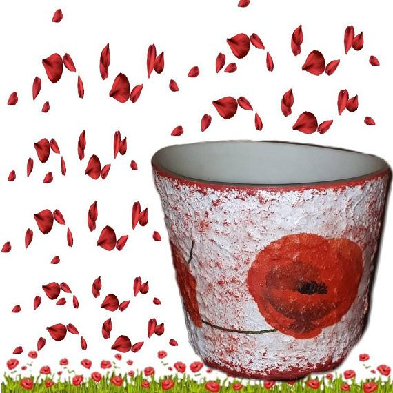 Check out this item in my Etsy shop https://www.etsy.com/listing/531985484/red-poppy-tea-light-candle-holder-floral