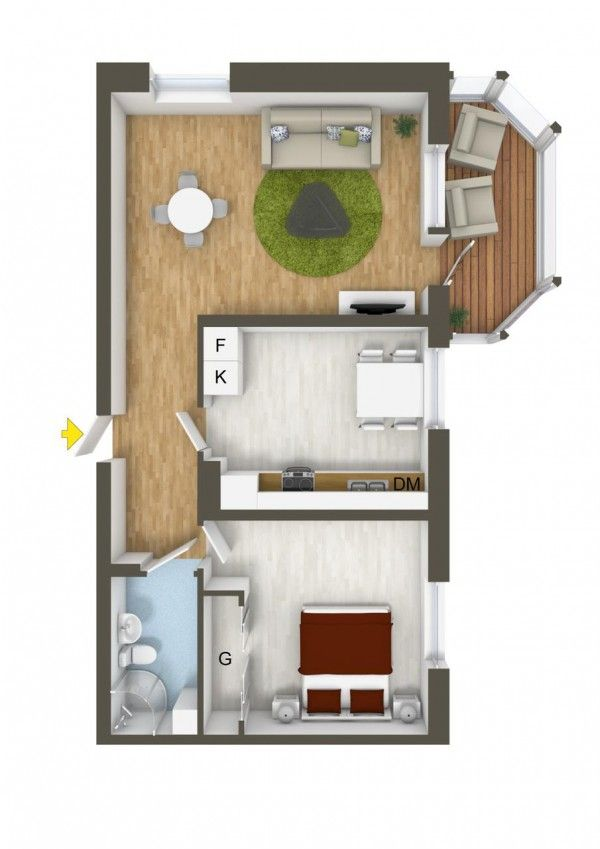 The 214 best Small House Plans images on Pinterest   1 bedroom     40 More 1 Bedroom Home Floor Plans