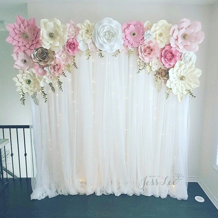 Baby Showers Backdrop ~ Paper flower backdrop with fairy lights perfect for a