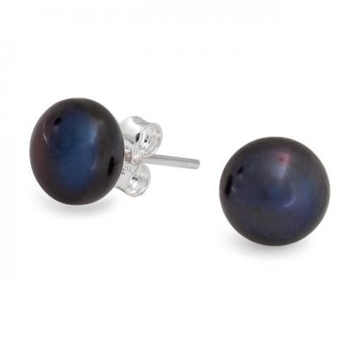 Sterling Silver Black Freshwater Button Pearl Stud Earrings