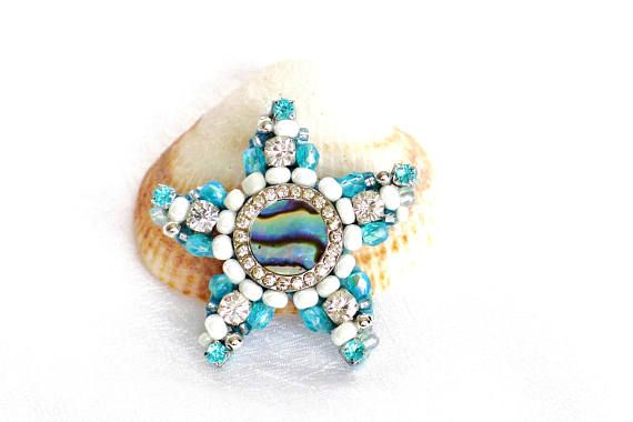 magnet starfish fridge magnet beach wedding favor mosaic