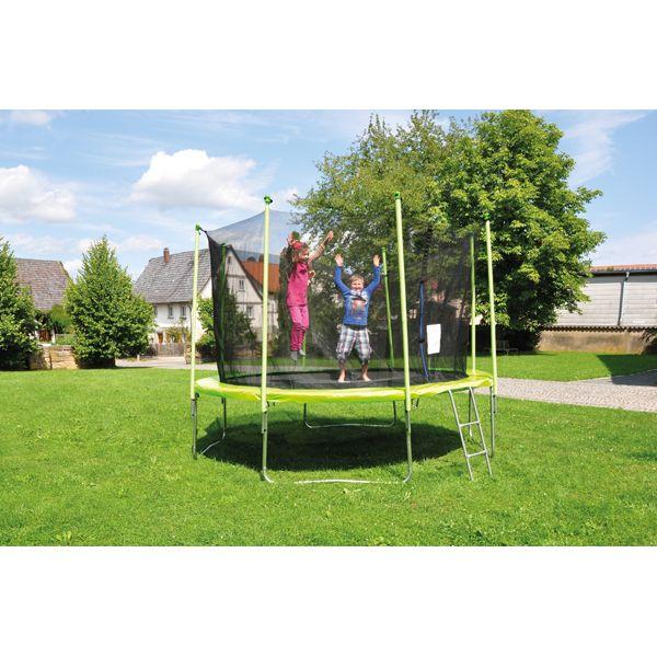 Trampolin 305 cm niedriger Einstieg Riesen-Trampolin mit Sicherheitsnetz in peppigem Grün | 170284 / EAN:4260372711768