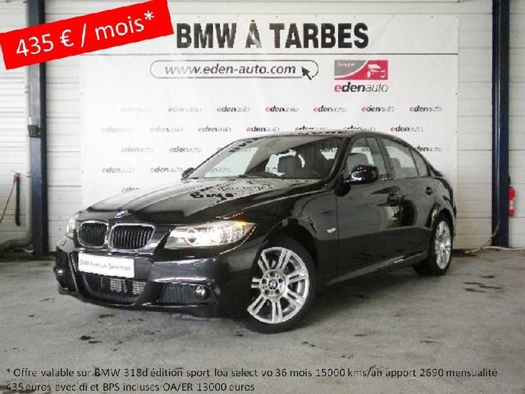 Opération spéciale leasing BMW Serie 3 318d Edition Sport occasion en vente à Tarbes. En savoir plus ici http://www.eden-auto.com/promotion/offre-exclusive-sur-vehicules-occasion-bmw-premium-selection/