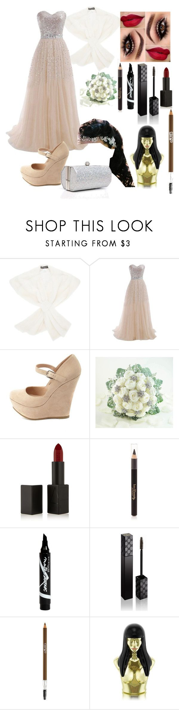 """Wedding Day (Bride)"" by rosie443 on Polyvore featuring Henri Gruber Paris, Charlotte Russe, NARS Cosmetics, Forever 21, Maybelline, Gucci, CARGO, Nicki Minaj and J. Furmani"