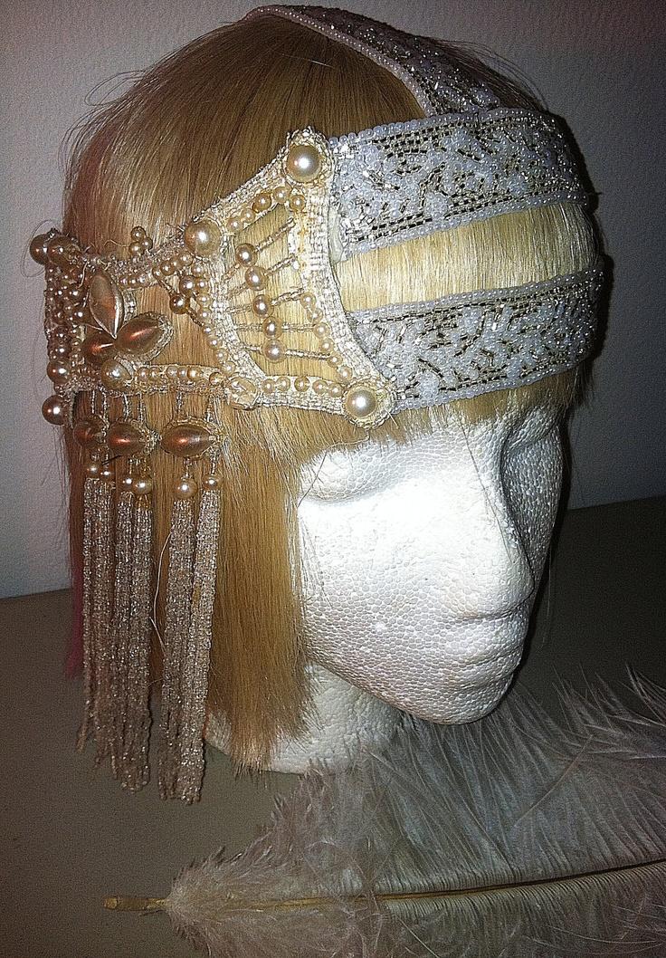 authentic 1920s beaded art deco bridal flapper headpiece bohemian art nouveau beaded tassel. Black Bedroom Furniture Sets. Home Design Ideas
