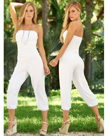 Stylish White #Jumpsuit $49.99 .  features a seam embellished bandeau top, form hugging creased bodice, billowing harem pants and gathered hem.  #fashion #women #meinstyle