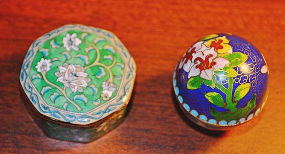 Pill Boxes Cloisonne Porcelain Asian Pill Boxes by Collectitorium