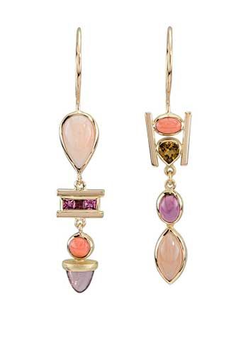 Janis Kerman: , Colorful, assymetrical, multi stone earrings in 18k yellow gold, tourmaline, coral, angel skin coral, orissa garnet, peach moonstone, and spinel.