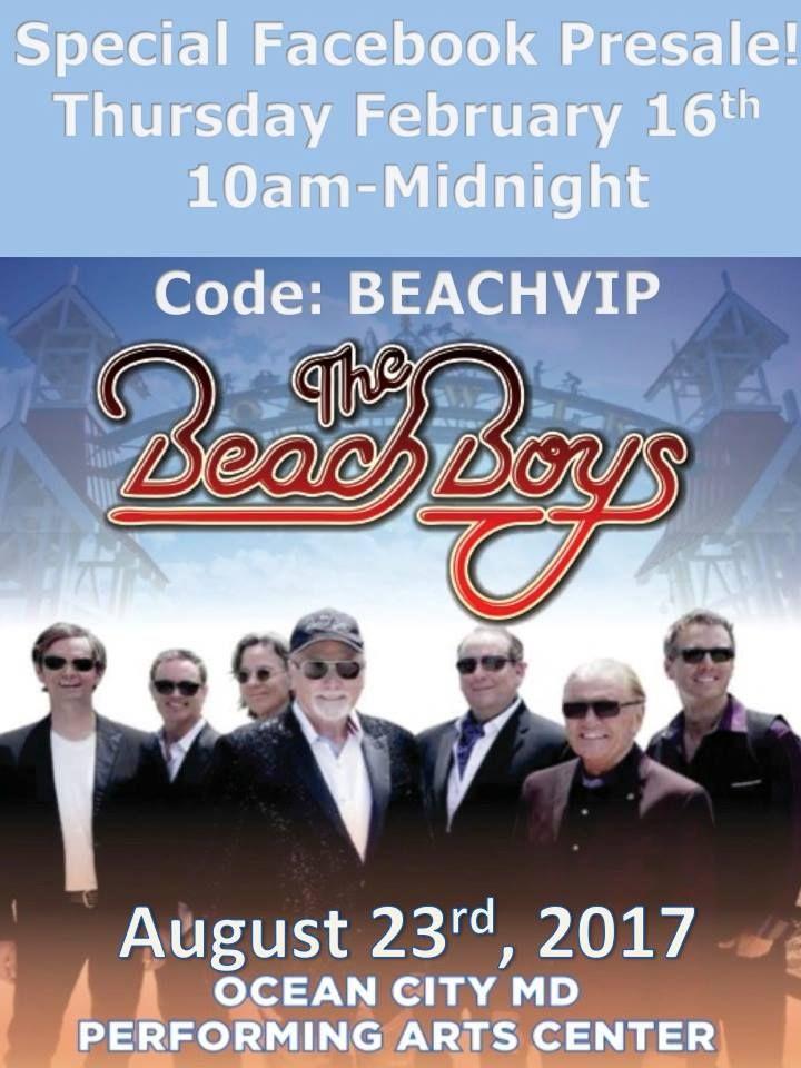 Beach Boys VIP Pass One Day Sale February 16 2017... Read More! #oceancitycool