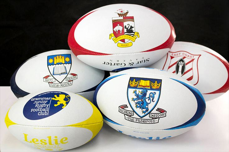 Customised Rugby balls with your logos, sponsors and colours from LeslieRugby. Contact us about your custom printed rugby balls at www.LeslieRugby.co.nz