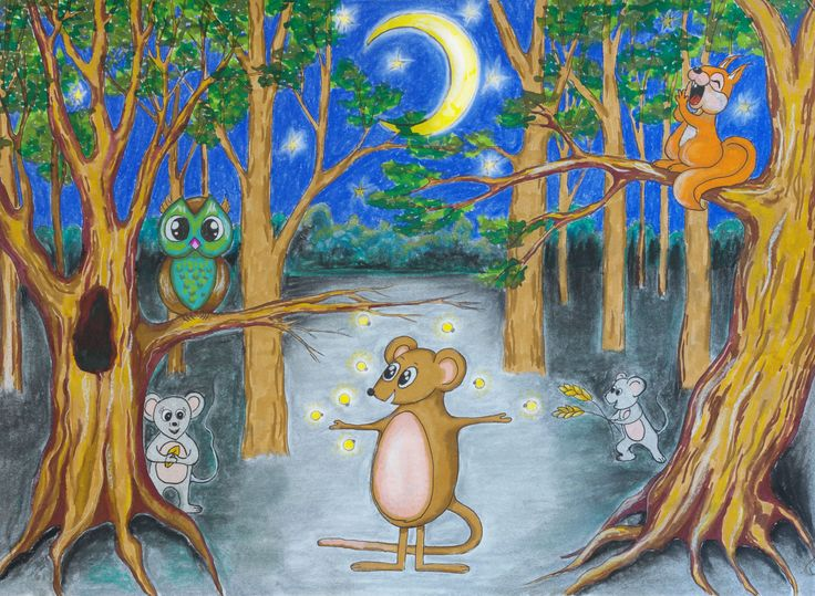 Ilustracja do opowiadania dla dzieci. Markery i pastele