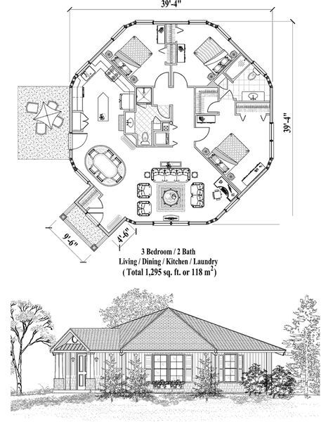 online house plan 1295 sq ft 3 bedrooms 2 baths patio rh pinterest com