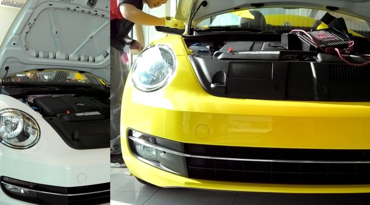 Colour change wrap completed! A once white beetle has now been converted into a beautiful gloss yellow beetle. Coated with Avery Supreme Wrap. A before and after shot.