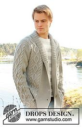 """Ravelry: 0-850 Men's jacket with cable pattern and shawl collar in """"Lima"""" pattern by DROPS design"""