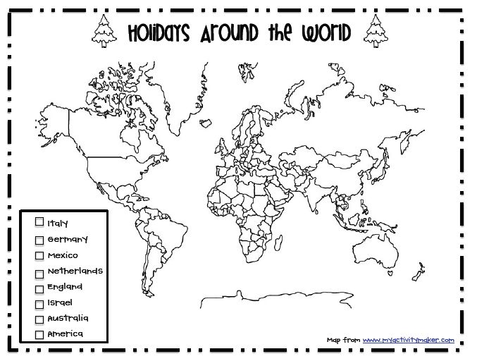 Sarah's First Grade Snippets: Holiday around the world map freebie