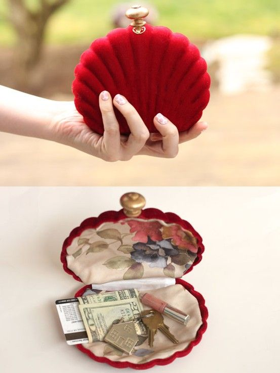 DIY Shell Clutch. I want this in white or ivory!