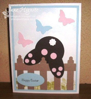 Stampin' Up! cards, Easter cards, baby cards, rubber stamping, punch art, bunny rabbit punched art, punch cards, butterfly punch, fence punched art,