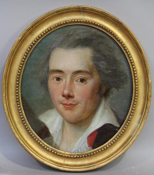 """Ecole française XVIIIè - """"Portrait d'homme portant un anneau à l'oreille"""""""