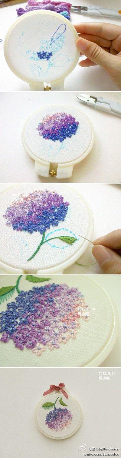 Há níveis de bordado hortencia bordada flor